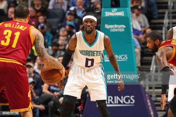 Briante Weber of the Charlotte Hornets plays defense during a game against the Cleveland Cavaliers on March 24 2017 at the Spectrum Center in...