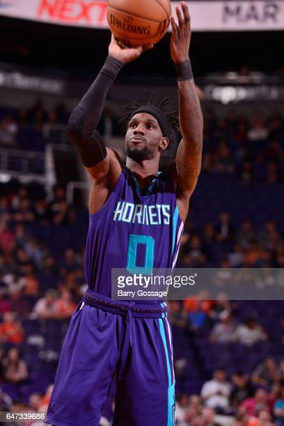 Briante Weber of the Charlotte Hornets shoots a free throw against the Phoenix Suns during the game on March 2 2017 at Talking Stick Resort Arena in...