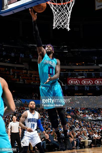 Briante Weber of the Charlotte Hornets shoots a lay up against the Orlando Magic on March 22 2017 at Amway Center in Orlando Florida NOTE TO USER...