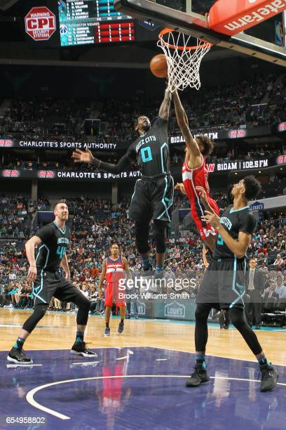 Briante Weber of the Charlotte Hornets shoots the ball against the Washington Wizards during the game on March 18 2017 at Spectrum Center in...