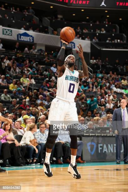 Briante Weber of the Charlotte Hornets shoots the ball against the Milwaukee Bucks on March 28 2017 at Spectrum Center in Charlotte North Carolina...