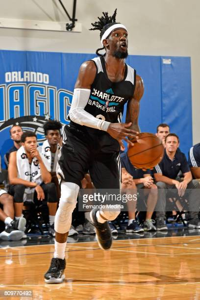 Briante Weber of the Charlotte Hornets throws a pass against the Orlando Magic during the Mountain Dew Orlando Pro Summer League on July 6 2017 at...