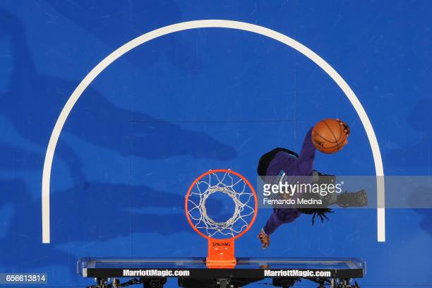 Briante Weber of the Charlotte Hornets warms up before the game against the Orlando Magic on March 22 2017 at Amway Center in Orlando Florida NOTE TO...