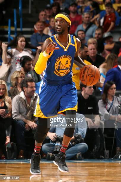 Briante Weber of the Golden State Warriors brings the ball up court during the game against the Oklahoma City Thunder on February 11 2017 at...