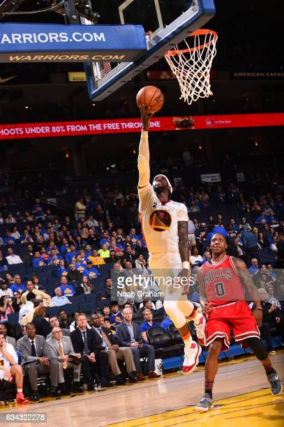 Briante Weber of the Golden State Warriors goes to the basket against the Chicago Bulls on February 8 2017 at ORACLE Arena in Oakland California NOTE...