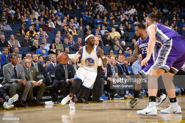 Briante Weber of the Golden State Warriors handles the ball against the Sacramento Kings on February 15 2017 at ORACLE Arena in Oakland California...