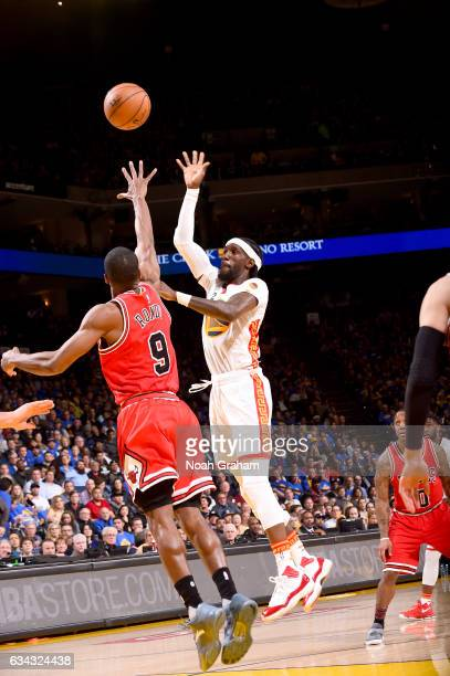 Briante Weber of the Golden State Warriors shoots the ball against the Chicago Bulls on February 8 2017 at ORACLE Arena in Oakland California NOTE TO...