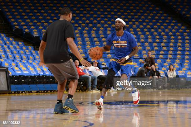 Briante Weber of the Golden State Warriors warms up before the game against the Chicago Bulls on February 8 2017 at ORACLE Arena in Oakland...