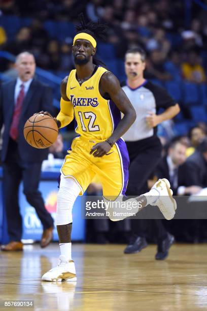 Briante Weber of the Los Angeles Lakers handles the ball against the Denver Nuggets on October 4 2017 at Citizens Business Bank Arena in Los Angeles...