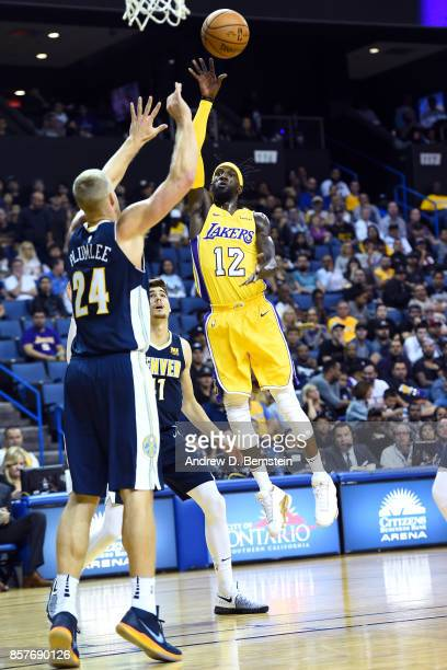 Briante Weber of the Los Angeles Lakers shoots the ball against the Denver Nuggets on October 4 2017 at Citizens Business Bank Arena in Los Angeles...