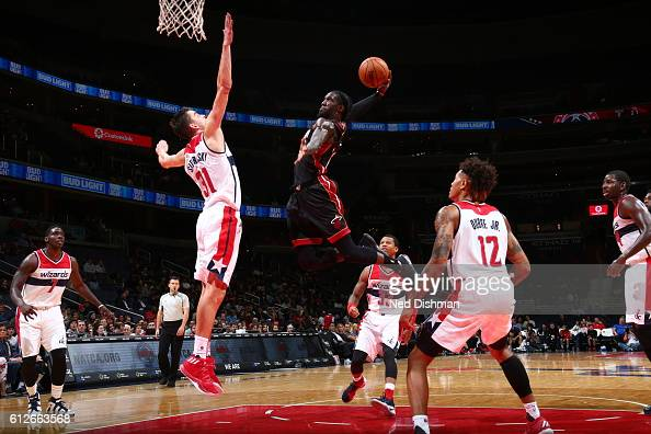 Briante Weber of the Miami Heat goes to the basket against Tomas Satoransky of the Washington Wizards during a preseason game on October 4 2016 at...