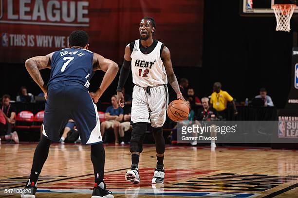 Briante Weber of the Miami Heat handles the ball against the New Orleans Pelicans during the 2016 NBA Las Vegas Summer League game on July 13 2016 at...