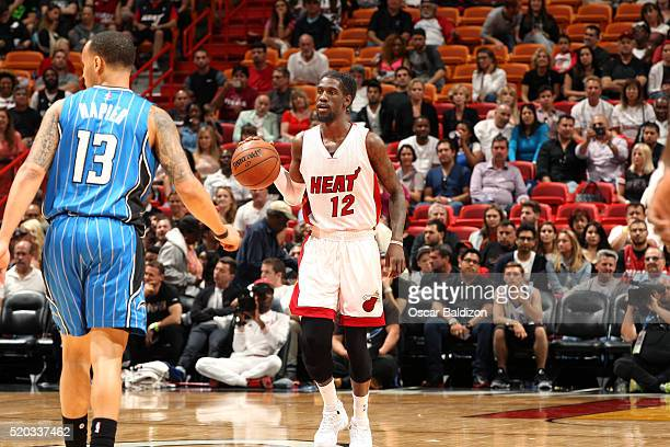 Briante Weber of the Miami Heat handles the ball during the game against the Orlando Magic on April 10 2016 at American Airlines Arena in Miami...