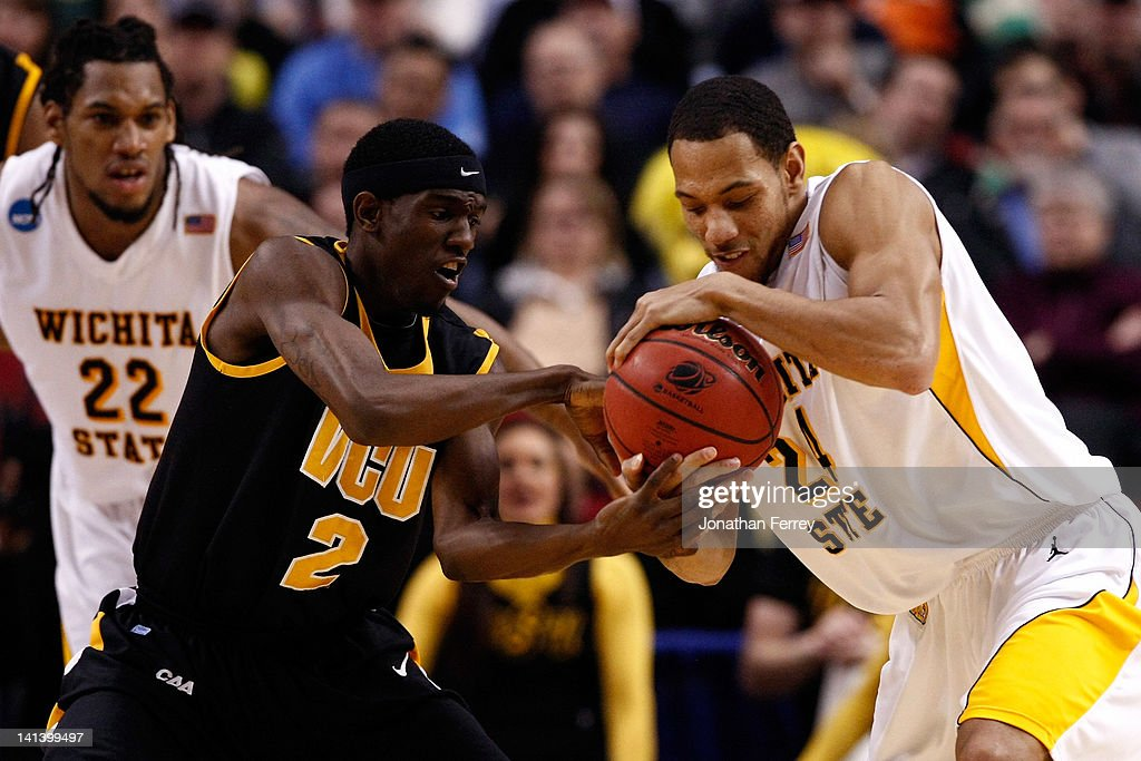 Briante Weber #2 of the Virginia Commonwaealth Rams and David Kyles #24 of the Wichita State Shockers battle for the ball in the second half in the second round of the 2012 NCAA men's basketball tournament at Rose Garden Arena on March 15, 2012 in Portland, Oregon.