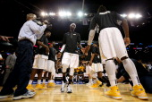 Briante Weber of the Virginia Commonwealth Rams is introduced before the game against the George Washington Colonials during the Semifinals of the...