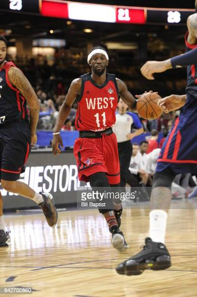 Briante Weber of the West Team drives the ball against the East Team during the 2017 NBA DLeague AllStar Game Presented By Kumho Tire as a part of...
