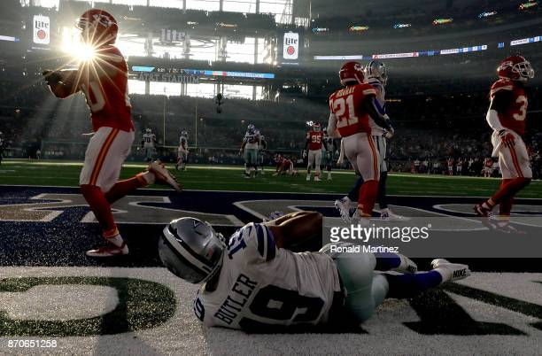 Brice Butler of the Dallas Cowboys drops a pass in the endzone against the Kansas City Chiefs in the second quarter at ATT Stadium on November 5 2017...