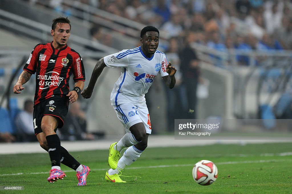 Brice Dja Djedje of Marseille in action during the French Ligue 1 match between Olympique de Marseille and OGC Nice at Stade Velodrome on August 29, 2014 in Marseille, France.