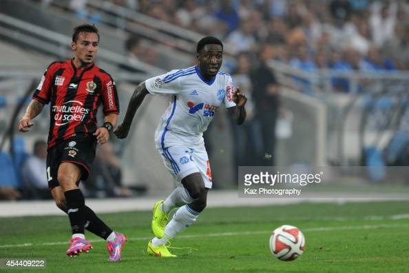 Brice Dja Djedje of Marseille in action during the French Ligue 1 match between Olympique de Marseille and OGC Nice at Stade Velodrome on August 29...