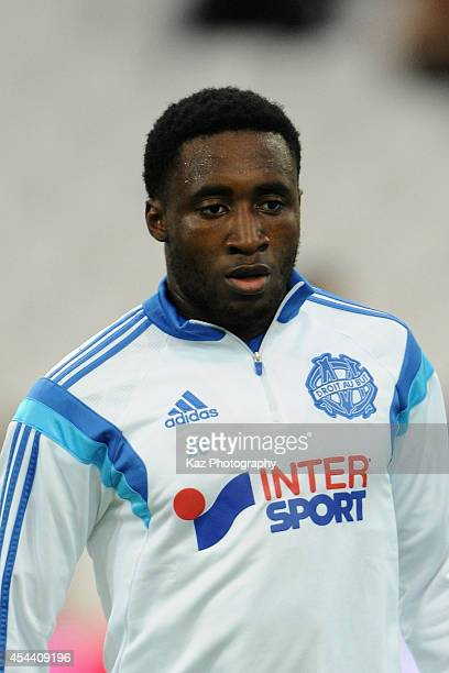 Brice Dja Djedje of Marseille warms up prior to the French Ligue 1 match between Olympique de Marseille and OGC Nice at Stade Velodrome on August 29...