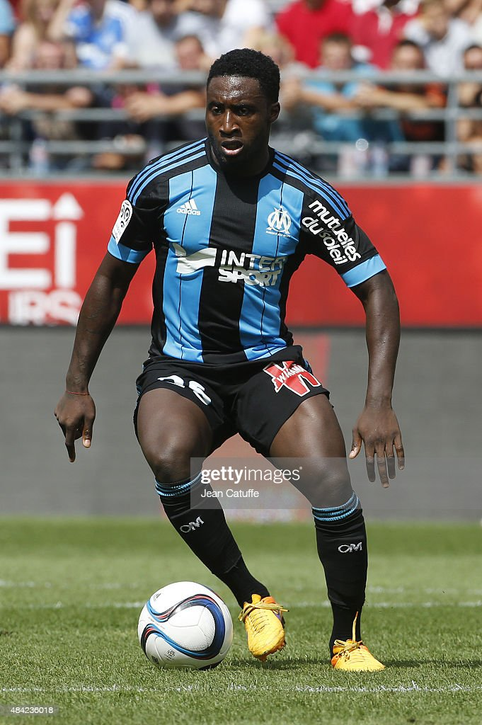 Brice Dja Djedje of Olympique de Marseille in action during the French Ligue 1 match between Stade de Reims and Olympique de Marseille (OM) at Stade Auguste Delaune on August 16, 2015 in Reims, France.