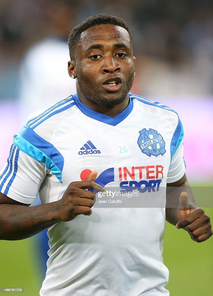 Brice Dja Djedje of OM looks on before the French Ligue 1 match between Olympique de Marseille (OM) and Paris Saint-Germain (PSG) at New Stade Velodrome on April 5, 2015 in Marseille, France.