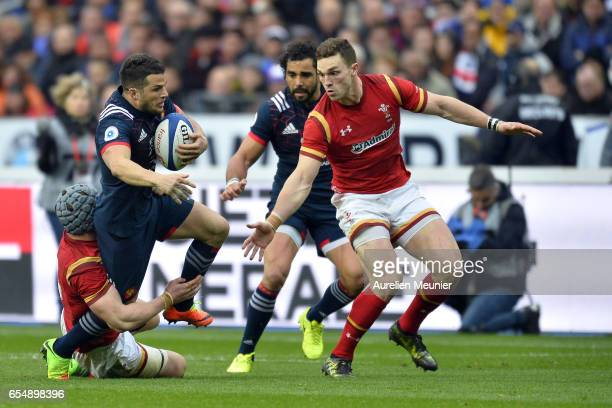 Brice Dulin of France is tackled during the RBS Six Nations match between France and Wales at Stade de France on March 18 2017 in Paris France