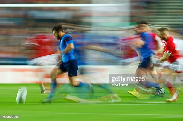 Brice Dulin of France kicks ahead during the 2015 Rugby World Cup Pool D match between France and Canada at Stadium mk on October 1 2015 in Milton...