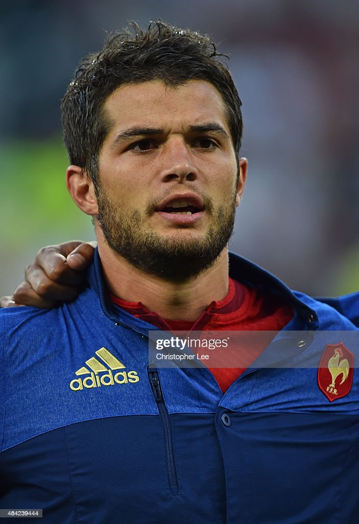 Brice Dulin of France lines up for the national anthems during the QBE International match between England and France at Twickenham Stadium on August 15, 2015 in London, England.