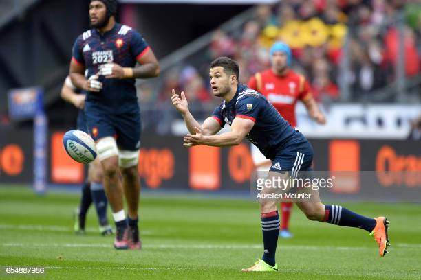 Brice Dulin of France passes the ball during the RBS Six Nations match between France and Wales at Stade de France on March 18 2017 in Paris France