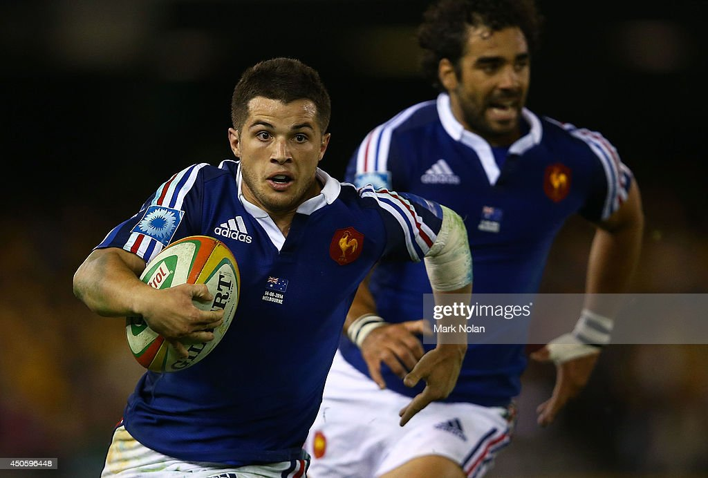 Brice Dulin of France runs the ball during the second International Test Match between the Australian Wallabies and France at Etihad Stadium on June 14, 2014 in Melbourne, Australia.