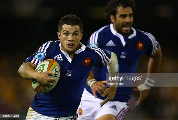 Brice Dulin of France runs the ball during the second International Test Match between the Australian Wallabies and France at Etihad Stadium on June...
