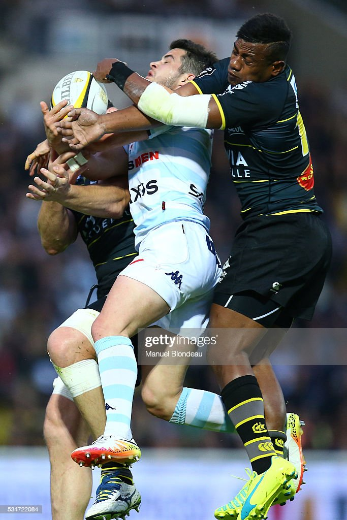 Brice Dulin of Racing 92 and Ratu Ratini of La Rochelle during the french Top 14 match between Stade Rochelais and Racing 92 on May 27, 2016 in La Rochelle, France.