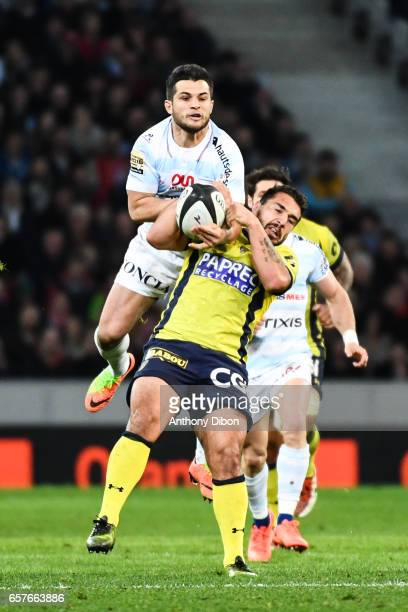 Brice Dulin of Racing 92 and Remy Grosso of Clermont during the Top 14 match between Racing 92 and Clermont Auvergne at Stade PierreMauroy on March...