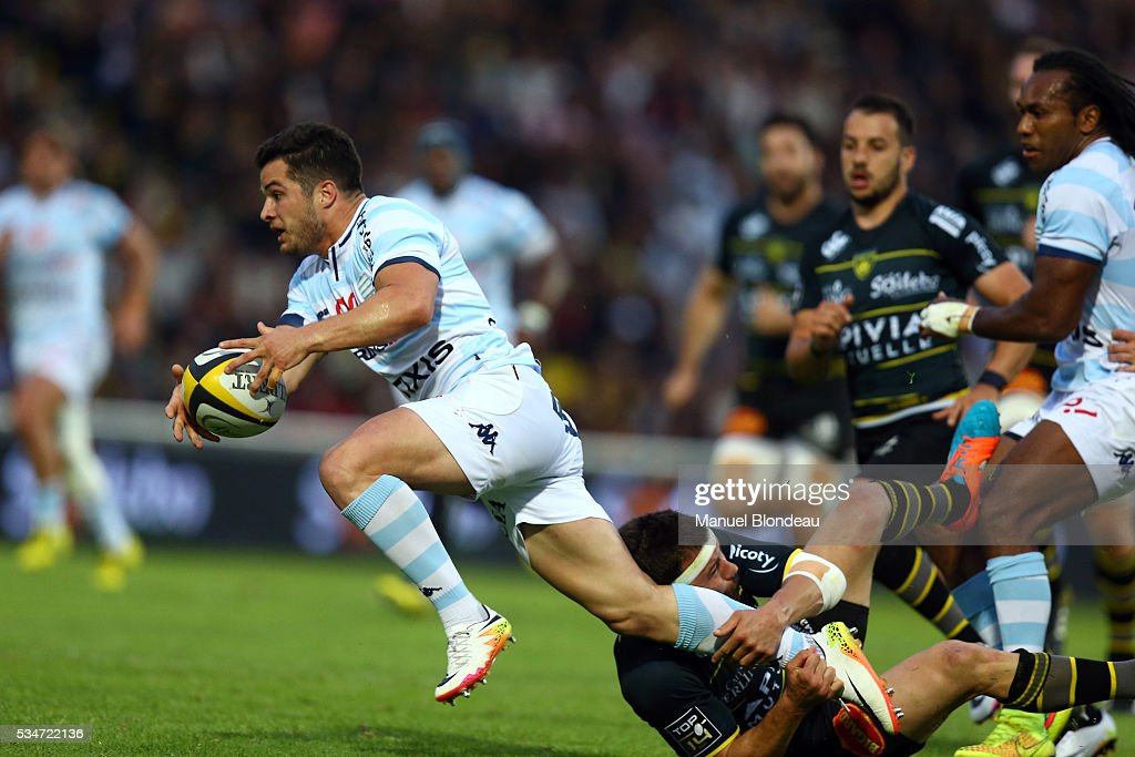 Brice Dulin of Racing 92 and XXXX of La Rochelle during the french Top 14 match between Stade Rochelais and Racing 92 on May 27, 2016 in La Rochelle, France.