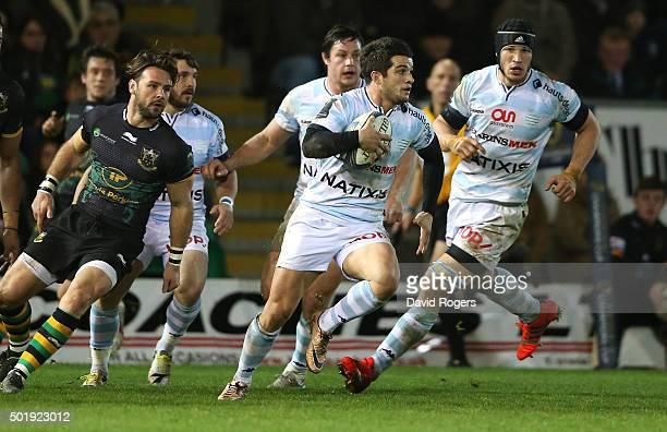 Brice Dulin of Racing 92 breaks with the ball during the European Rugby Champions Cup match between Northampton Saints and Racing 92 at Franklin's...