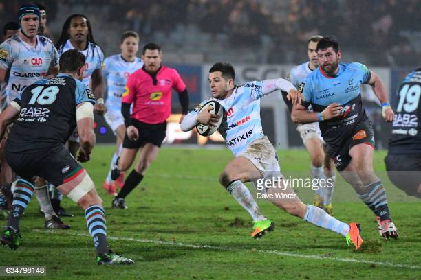 Brice Dulin of Racing 92 during the Top 14 match between Racing 92 and Aviron Bayonnais Bayonne on February 11 2017 in Colombes France