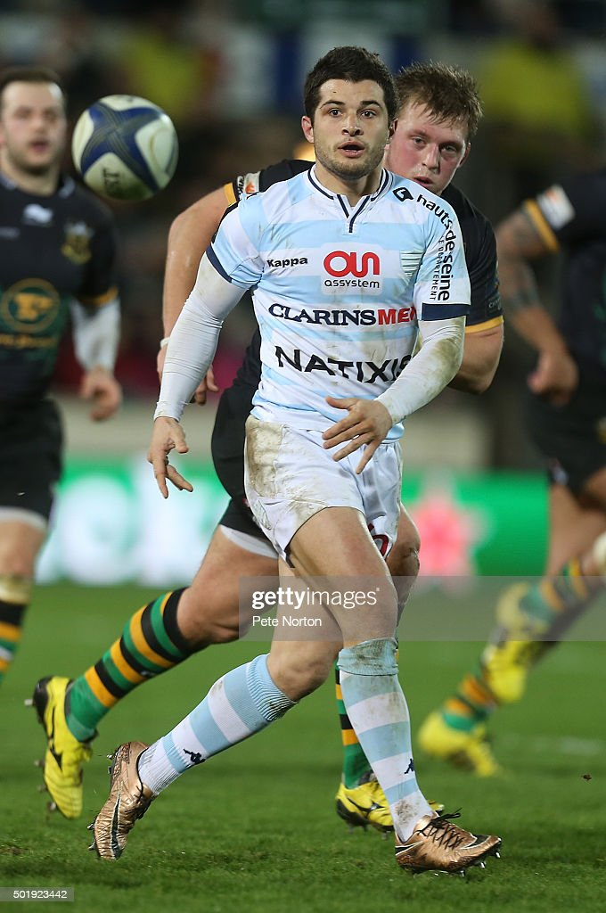 Brice Dulin of Racing 92 in action during the European Rugby Champions Cup match between Northampton Saints and Racing 92 at Franklin's Gardens on December 18, 2015 in Northampton, England.