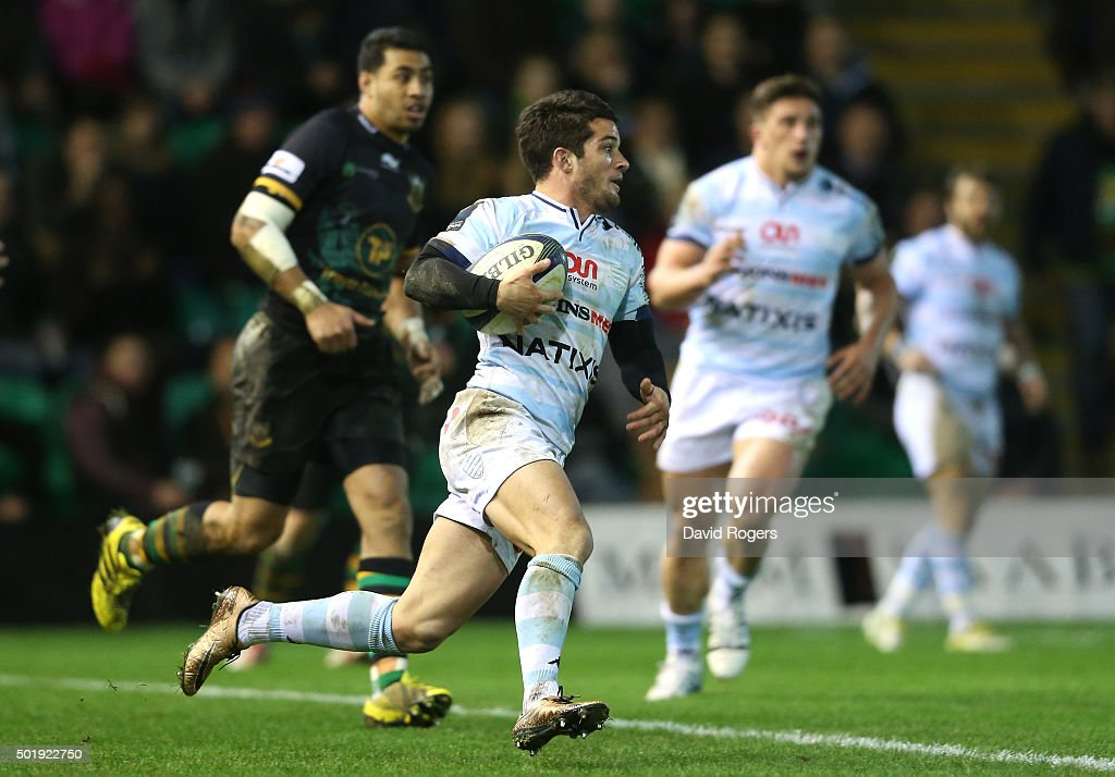 <a gi-track='captionPersonalityLinkClicked' href=/galleries/search?phrase=Brice+Dulin&family=editorial&specificpeople=7045962 ng-click='$event.stopPropagation()'>Brice Dulin</a> of Racing 92 runs with the ball during the European Rugby Champions Cup match between Northampton Saints and Racing 92 at Franklin's Gardens on December 18, 2015 in Northampton, England.