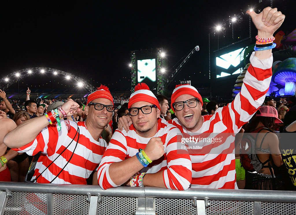 Brice Horton, Kelly Teitzel and Sean Dempsey, all from Minnesota and dressed as the character Waldo, attend the 17th annual Electric Daisy Carnival at Las Vegas Motor Speedway on June 22, 2013 in Las Vegas, Nevada.