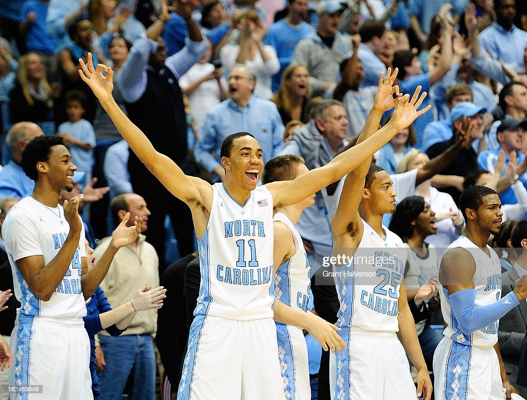 Brice Johnson #11 and the North Carolina Tar Heels bench react during a win over the North Carolina State Wolfpack at the Dean Smith Center on February 23, 2013 in Chapel Hill, North Carolina. North Carolina won 76-65.