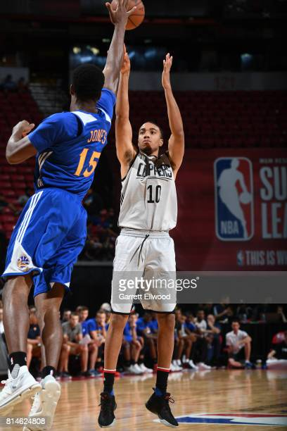 Brice Johnson of the LA Clippers shoots the ball against the Golden State Warriors on July 14 2017 at the Thomas Mack Center in Las Vegas Nevada NOTE...
