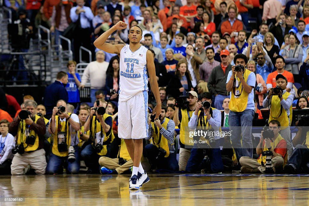 Brice Johnson of the North Carolina Tar Heels celebrates during the closing seconds of the Tar Heels 6157 win over the Virginia Cavaliers during the...