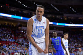 Brice Johnson of the North Carolina Tar Heels celebrates in the second half against the Florida Gulf Coast Eagles during the first round of the 2016...