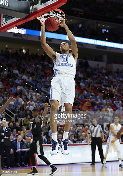 Brice Johnson of the North Carolina Tar Heels dunks against the Providence Friars in the second half during the second round of the 2016 NCAA Men's...