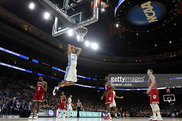 Brice Johnson of the North Carolina Tar Heels dunks in the second half against the Indiana Hoosiers during the 2016 NCAA Men's Basketball Tournament...
