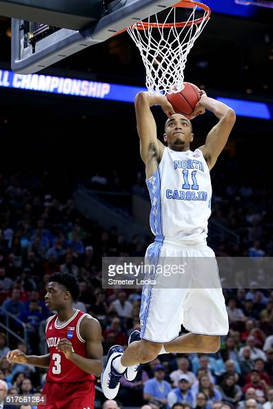 Brice Johnson of the North Carolina Tar Heels dunks the ball in the second half against the Indiana Hoosiers during the 2016 NCAA Men's Basketball...