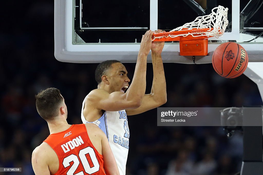 Brice Johnson of the North Carolina Tar Heels dunks the ball in the second half against the Syracuse Orange during the NCAA Men's Final Four...