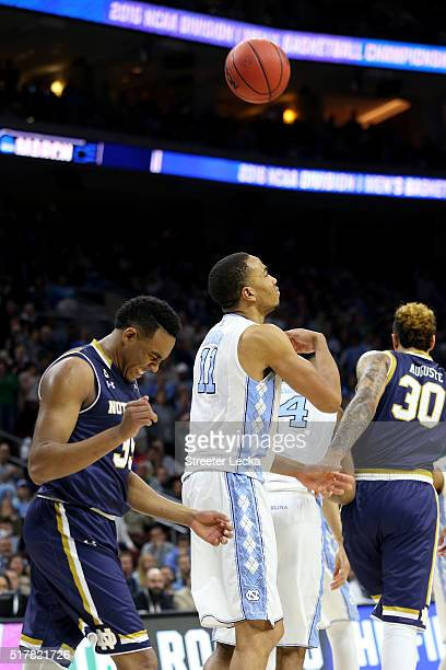 Brice Johnson of the North Carolina Tar Heels gets a technical foul for tossing the ball in the second half against the Notre Dame Fighting Irish...