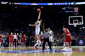 Brice Johnson of the North Carolina Tar Heels jumps for the ball against the Indiana Hoosiers to start first half during the 2016 NCAA Men's...